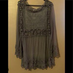 Floral Crochet Gray Sheer Tunic